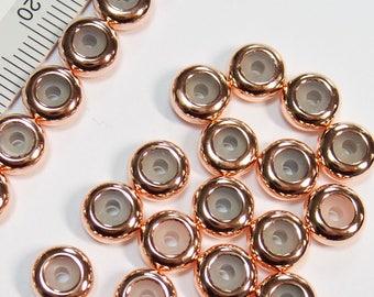 4 pc. Chain Stopper, Slide Holder, Slider Bead, Stopper Bead, Chain Length Controller, Rose Gold/Original Rhodium/16k Gold Plated Brass