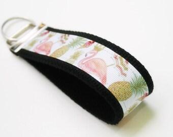 Flamingo Fun Keychain, Flamingo Keyring, Wristlet Key Chain, Pineapple Wristlet Key Ring, Flamingo Key Chain, Pineapple keyfob, , OhKoey