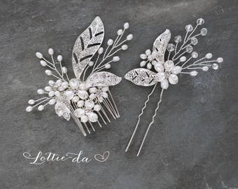 Boho Headpiece Set, Boho Wedding Silver or Gold Flower Hair Vine, Wedding Hair vine leaves, Wire Hair Comb, Boho Headpiece -  'CALLIE'