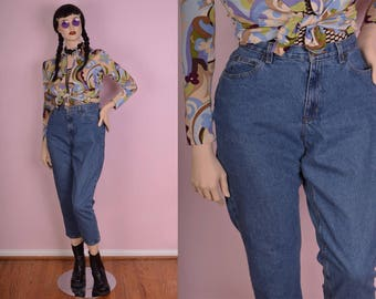 90s High Waisted Jeans/ US 12P/ 1990s/ Denim