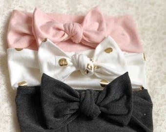 Baby Girl Headband, Baby Headband, Baby Headwrap, Baby Bows, Baby Turban Headband, Baby Girl Headwrap, Gold Polka Dot