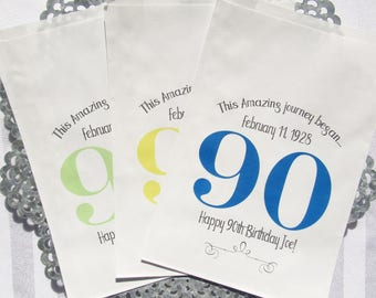 90th Birthday Favor Bags - Paper Bags - Candy Bags - 90th Birthday - Candy Buffet Bags - Adult Birthday Favors | Milestone Birthday Favors