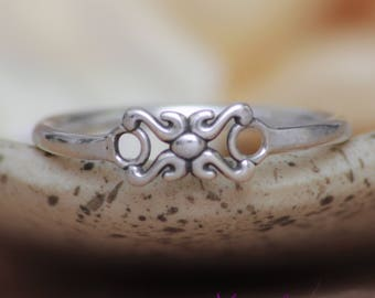 Unique Promise Ring For Her - Sterling Silver Stacking Ring - X & O Love Ring - Flourish Commitment Ring - Simple Promise Ring - Pinky Ring