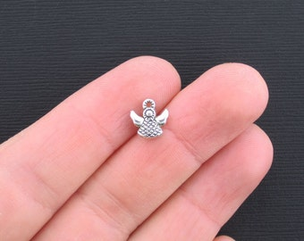 12 Small Angel Charms Antique Silver Tone 2 Sided - SC3299