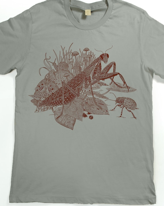 Praying mantis shirt men 39 s insect t shirt screen for I like insects shirt
