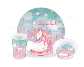 Unicorn Watercolor Melamine Dinnerware | Personalized | Customized | Buy 1 Piece or as a Set | Magical