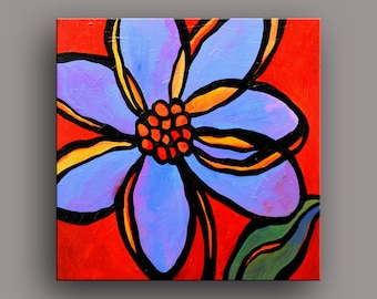 "24"" x 24"" Original Acrylic Painting Abstract Art Flowers Petals by Mike Daneshi. Free Shipping Within U.S.A. and CANADA"