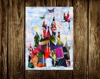 Castle wall art, Princess castle print, Mixed media collage art, Children's art, Kids room decor, baby decor, baby art