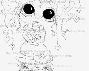 INSTANT DOWNLOAD Digital Digi Stamps Big Eye Big Head Dolls Digi  My - Besties  IMG200  By Sherri Baldy