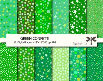 "Green Confetti Digital Paper / Digital Backgrounds - 12 Sheets 12"" x 12"" High Quality JPGs - Instant Download"