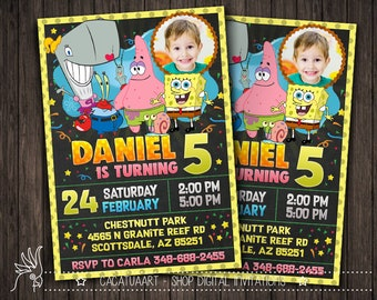 Spongebob invitation Etsy