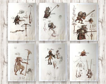 Goblins from Labyrinth. Vintage book illustration. Concept film art by Brian Froud. Goblin drawings for framing. Gift set of A4 prints