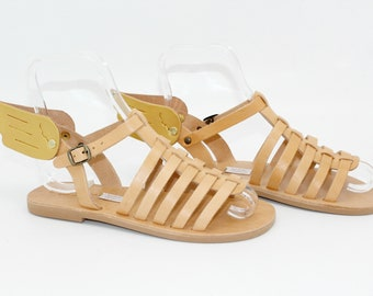 Greek leather Sandals winged , gladiator with wings-Sandales multi-brides en cuir, sandales ailees