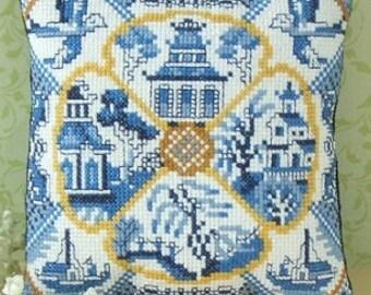 Willow Pattern Mini Cushion Cross Stitch Kit