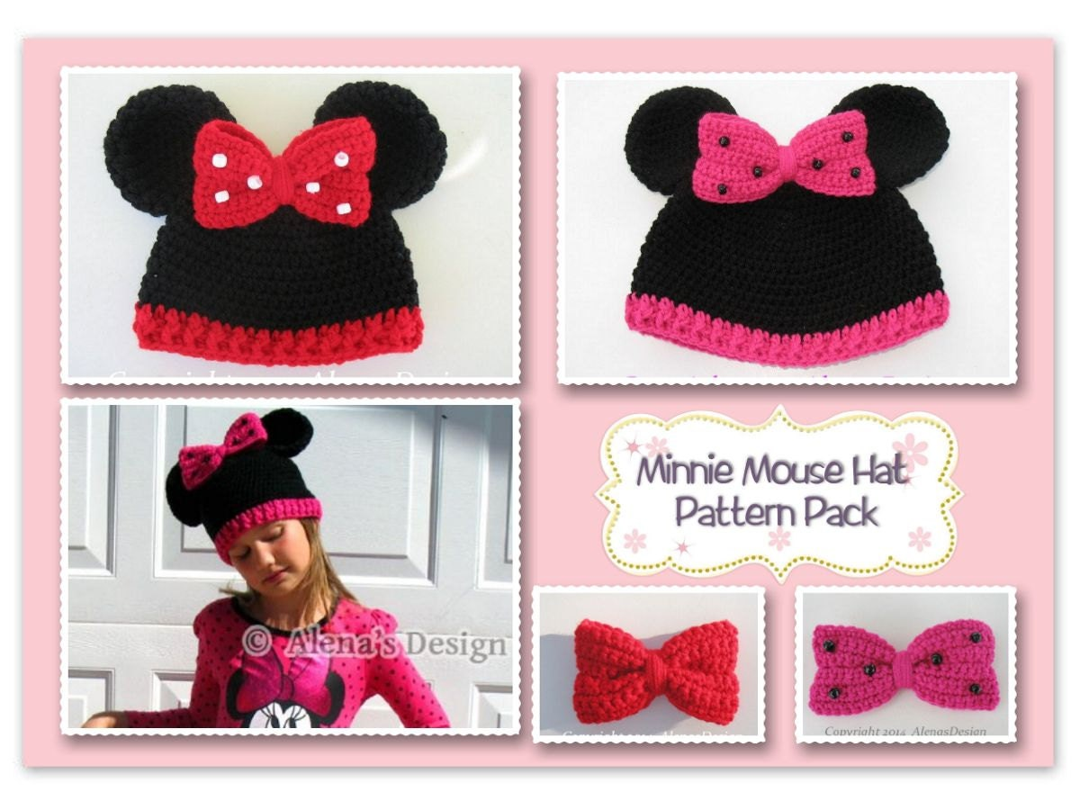 Crochet Patterns Minnie Mouse Hat ALL sizes Pattern Pack