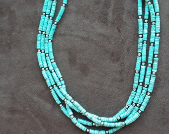 Four strand turquoise heishi necklace