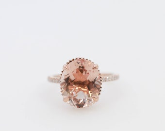 Oval Morganite Ring, Morganite Ring, Morganite Engagement Ring, Rose Gold Ring, Rose Gold Morganite Engagement Ring, Diamond Ring, Rose Gold