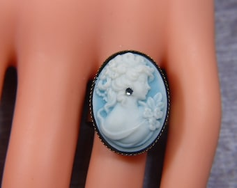 Vintage Blue and White Cameo Ring -- Size Adjustable - R-375