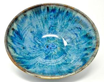 Ocean Swirl Blue Pottery Salad Bowl Pottery Serving Bowl Ceramic Pasta Bowl Handmade Pottery  Bowl A