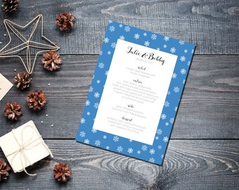 Winter Snowflake Menu Wedding Party Romantic Christmas Blue New Years Eve - Small Snowflakes