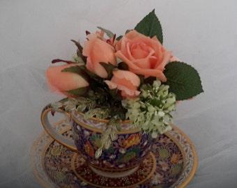 teacup centerpiece,  centerpiece, shower idea, baby shower ideas, bridal shower ideas, teacup gift, tea lover gift, rose small centerpiece