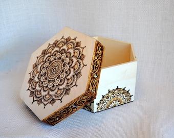 Large Mandala Woodburned Box, Wooden Box, Hexagon Box, Keepsake or Jewelry Box, Gift for Her, Wood burned, Wood burning, Pyrography