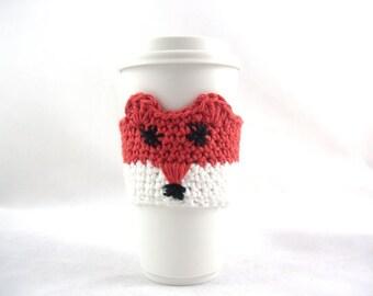 EASY Crochet PATTERN, Fox Travel mug sleeve / Red scarf  / coffee mug cozy / travel cup sleeve / travel mug cozy / coffee cup sleeve