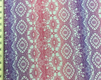 Rayon challis crêpe with gorgeous hues of pink, fuchsia & purple Fabric by the yard