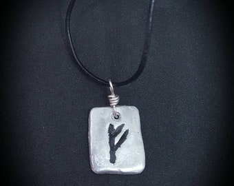 Fehu Pewter Rune necklace, Norse, viking