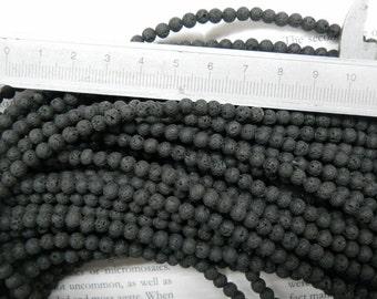 "4mm lava stone round beads, 15.5"" strand long"