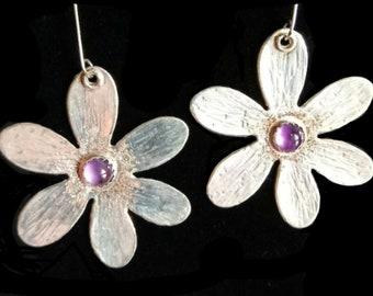Cute mod Bohemian Flower with natural amethyst, sterling silver earrings!!