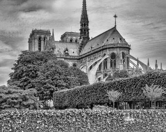 Photography of Paris, Decor for Living Room Art of Notre Dame Paris Print, Black & White Art