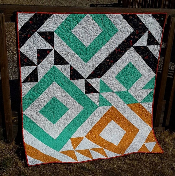 Easy Modern Lap Size Triangle Quilt Kit With A Striking Chic Design, Great Quilting Project For Newbie Quilter, Half Square Triangle Love