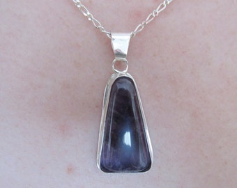 Handmade....Ameythst Cabochon Gemstone Pendant with Chain...Set in .999 Fine Silver