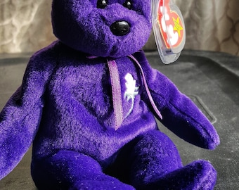 TY Princess Diana Beanie Baby Purple Bear with White Rose