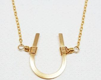 Horseshoe Necklace - Gold, Horseshoe Jewelry, Horseshoe Necklace - Gold Filled, Good Luck Necklace, Lucky Horsehoe