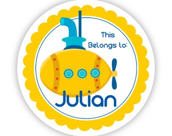 Sticker Name Tag Labels - Yellow Blue, Ocean Sea Water Submarine Personalized Name Tag Stickers - Round Tags - Back to School Name Stickers