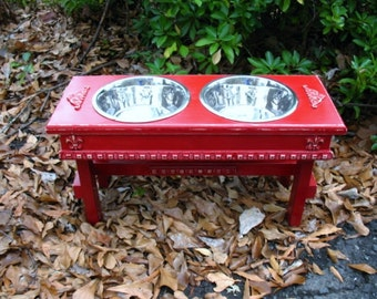 Elevated Dog Bowl Pet Feeder For Large Dogs - Cherry Red Distressed Cottage Chic Made to Order