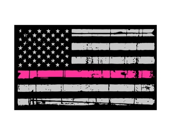 Thin Pink Line Tattered Flag- Thin Blue Line- Yeti Decal- Tumbler Decal