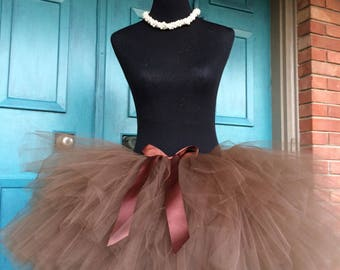 """Solid Brown Adult Tutu for waist 35"""" up to 45"""" great for Halloween, Birthdays, Dance and Bachelorette parties"""