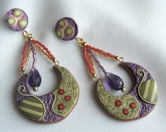 Chandelier earrings of handmade resin design with Swarovski teardrop Chrystal