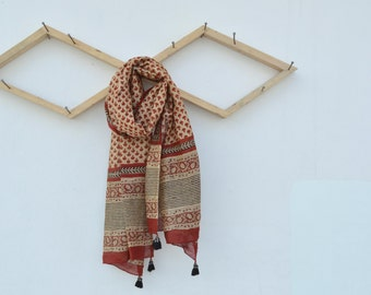 Vegetable Dyed Floral Hand Block Printed Scarf, Stole, Wrap with tread tassel detail