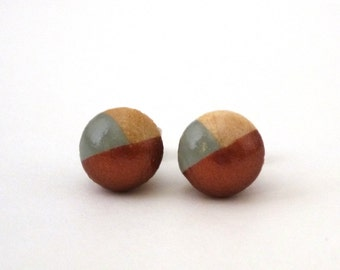 Gray and bronze tiny earrings, dipped paint earrings, two color earrings, wood post earrings, tiny posts