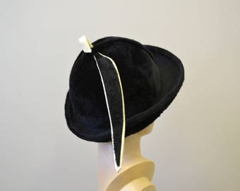 1960s Emme Boutique Black Fur Felt Hat
