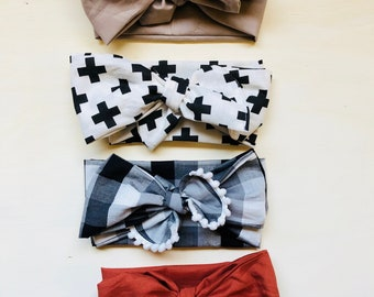 Big Baby Bows, Baby Headwraps, Baby Turbans, Baby Topknots, Baby Headbands, Plaid Baby Bows, Red Baby Bow, Gray Baby Bow, Infant Head Bows