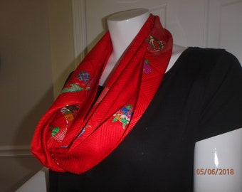 Gorgeous Red Silk Infinity Scarf