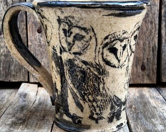 Barn Owl Bird Mug - Made to Order - Allow 3-4 weeks for shipping