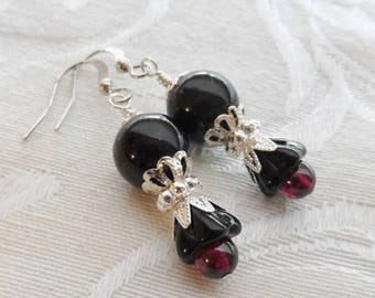 75% Off Clearance Sale, Black Lily Flower, Czech Glass, Garnet Bead, Silver Finish