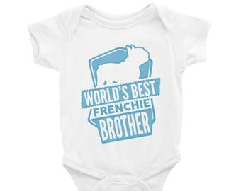 Baby Onesie 'World's Best Frenchie Brother' - 4 colors! - Funny Cute French Bulldog - Baby Clothing Gift Baby Shower - Dog Lover