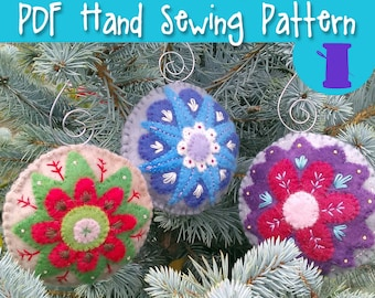 PDF Hand Sewing Pattern - wool felt christmas ornament collection hand stitched embroidery pattern solstice ornament needle felting pattern